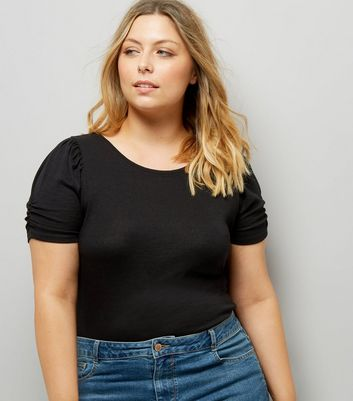 Curves Black Puff Sleeve T-Shirt
