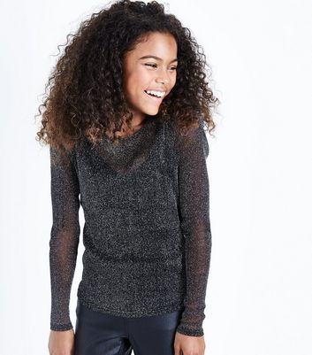 Teens Black Glitter Mesh Long Sleeve Top