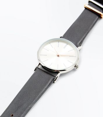 Dark Grey Strap Metallic Two Tone Watch