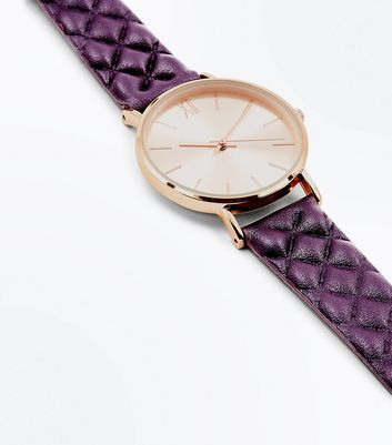 Purple Quilted Strap Gold Tone Watch