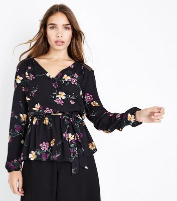 Tall Black Floral Mesh Back Wrap Top