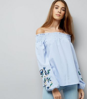 Tall Blue Embroidered Sleeve Bardot Top