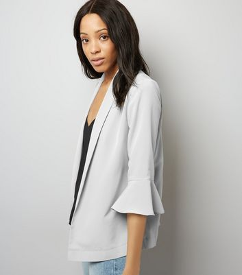 Pale Grey Bell Sleeve Blazer
