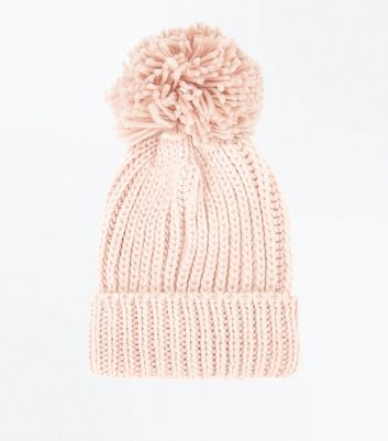 Pink Rib Knit Bobble Hat