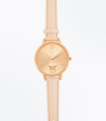 Rose Gold Butterfly Dial Watch