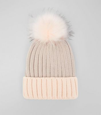 Pink Colour Block Pom Pom Hat