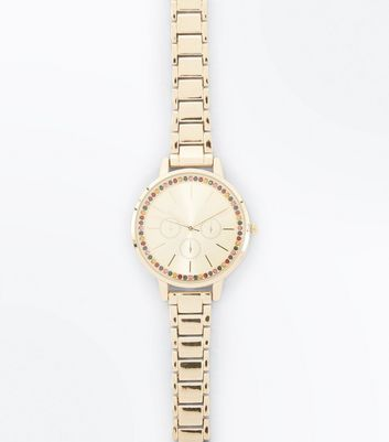 Gold Stone Embellished Sport Watch