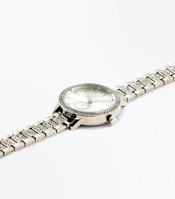 Silver Diamante Sports Watch