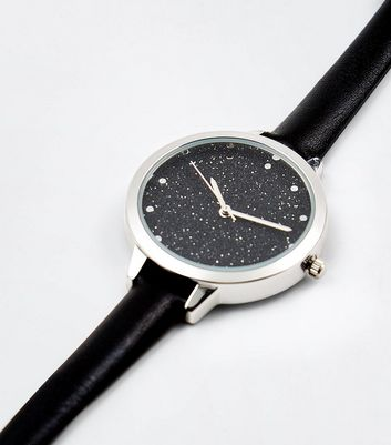 Black Galaxy Print Dial Watch