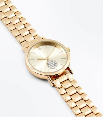 Gold Diamante Detail Chunky Sports Watch