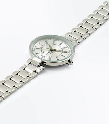 Silver Metallic Slim Strap Sports Watch