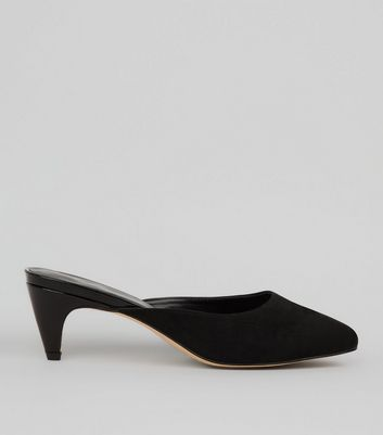 Black Suedette Heeled Mules