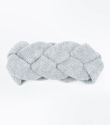 Grey Twisted Knit Headband