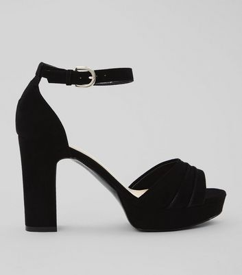 Wide Fit Black Suedette Strap Detail Platform Sandals