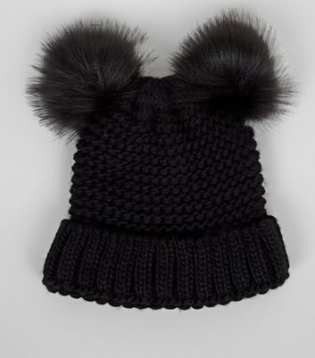 Black Double Faux Fur Pom Pom Beanie