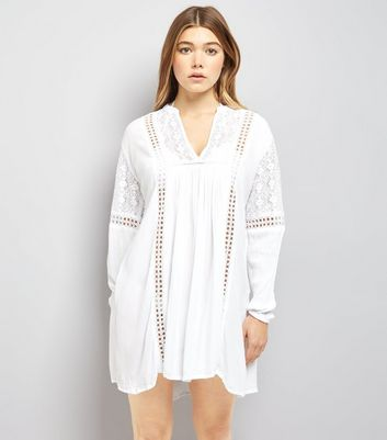 Blue Vanilla White Chrochet Lace Trim Tunic Dress