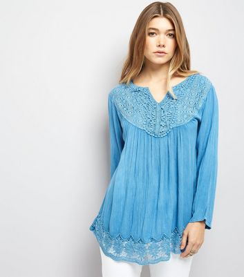 Blue Vanilla Blue Crochet Lace Trim Flared Sleeve Top