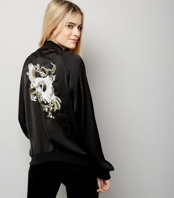 Blue Vanilla Black Floral Embroidered Bomber Jacket