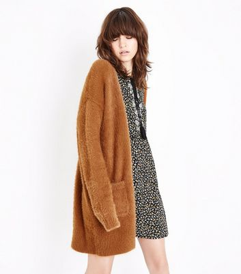 Light Brown Fluffy Longline Cardigan