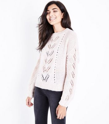 Shell Pink Pointelle Knit Balloon Sleeve Jumper
