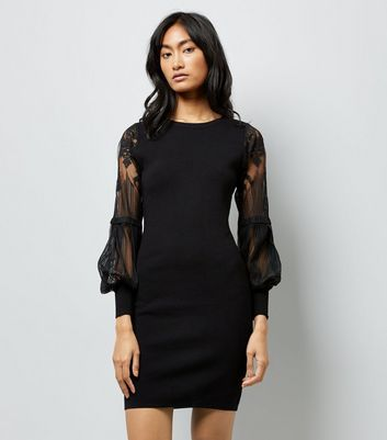 Black Balloon Lace Sleeve Dress
