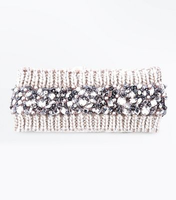 Mink Gem Embroidered Knit Headband