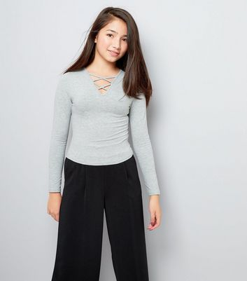 Teens Grey Lattice Front Long Sleeve Top