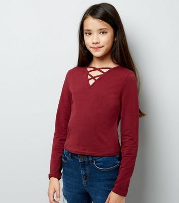 Teens Burgandy Lattice Front Long Sleeve Top