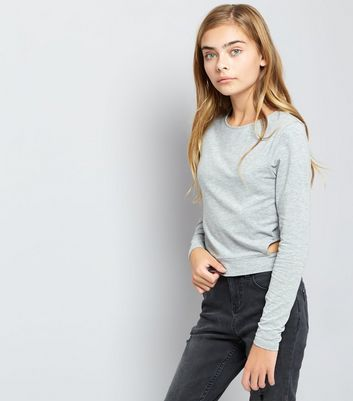 Teens Grey Long Sleeve Cut Out Sweater