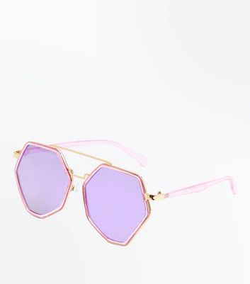 Dark Purple Pentagon Mirrored Lens Sunglasses