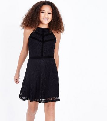 Teens Black Lace Velvet Trim Skater Dress