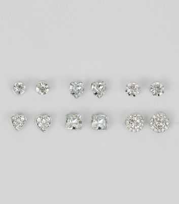 6 Pack Silver Gem Stud Earrings