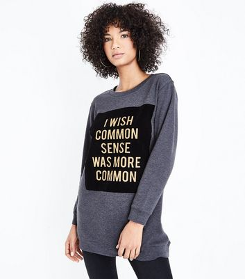 JDY - Sweat gris à slogan Common Sense