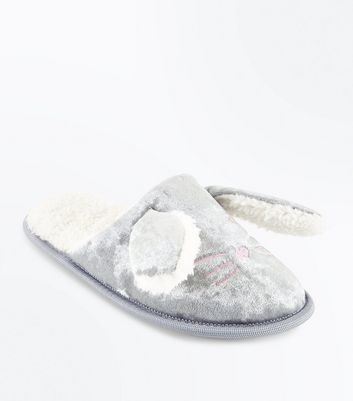 Teens Grey Bunny Ear Velvet Slippers