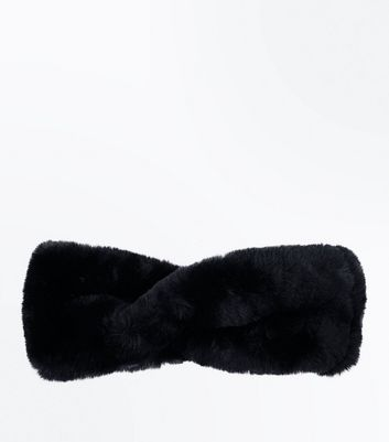 Black Teddy Faux-Fur Twist Headband