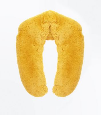 Yellow Oversized Faux Fur Collar