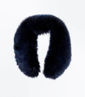 Navy Faux Fur Collar