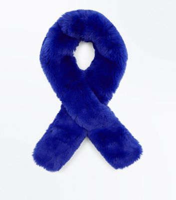 Bright Blue Faux Fur Stole
