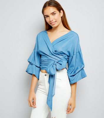 Blue Denim Ruched Sleeve Wrap Front Top