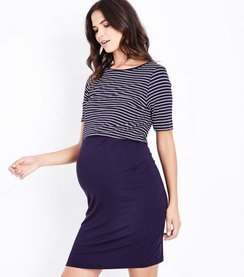 Maternity Blue Stripe Layered Nursing Dress