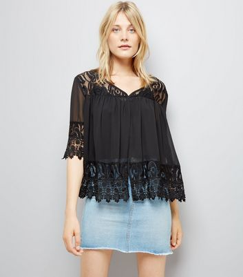 Apricot Black Lace Top