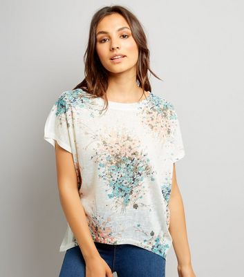 Apricot Blue Wild Flower Top
