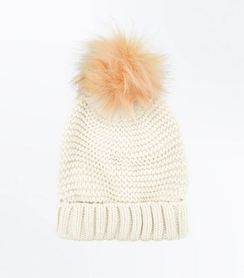 Pink Knit Faux Fur Bobble Hat