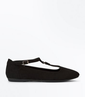 Black Suedette T Bar Ring Pumps