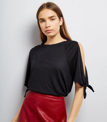 Black Tie Sleeve Cold Shoulder T-Shirt