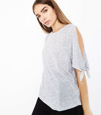Grey Marl Tie Sleeve Cold Shoulder T-Shirt