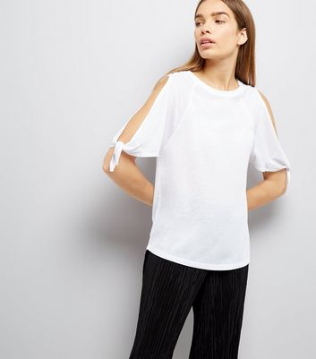 White Tie Sleeve Cold Shoulder T-Shirt