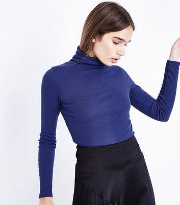 Navy Ribbed Funnel Neck Top