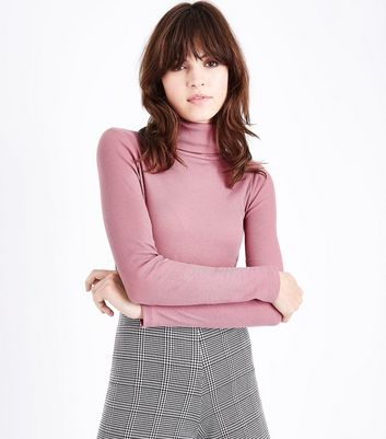 Pink Ribbed Funnel Neck Top