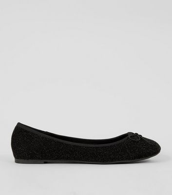 Black Glitter Ballet Pumps